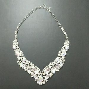 Clear Rhinestone and Silver Tone Necklace